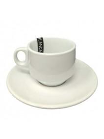 Set de cafe gastronomico: taza 90cc aprox + plato - PORCELANA BLANCA
