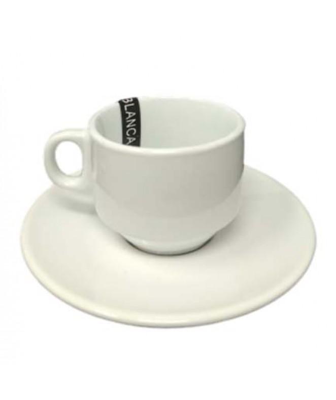 Set de café gastronómico: taza 90cc aprox + plato - PORCELANA BLANCA