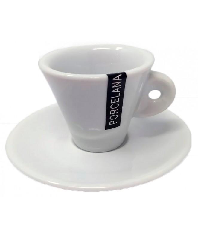Set de cafe: taza 90cc aprox + plato - PORCELANA BLANCA
