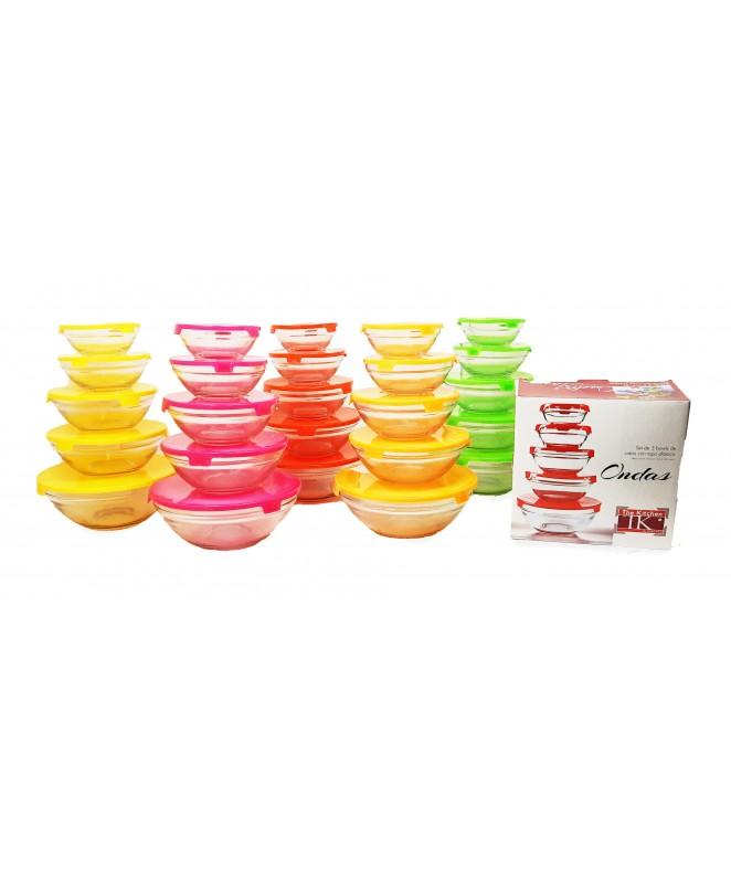 Jgo de 5 bowls lisos de vidrio c/tapa plástica. -4 - VIDRIO  DISCONTINUO