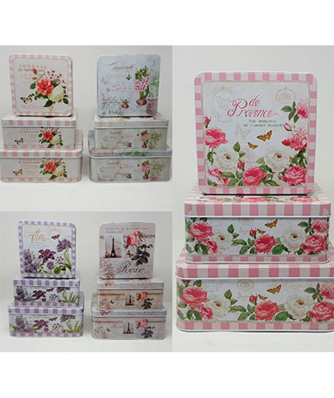 Set x3 latas decoradas 21X21X8.3cm aprox - Metal - EN SET