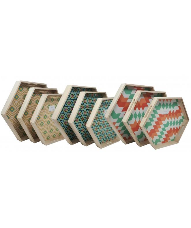 Bandeja hexagonal madera 36x31x4 + 39.5x34.5x4.3 - MADERA -HIERRO