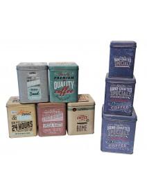 Set x3 latas cuadradas decoradas 10 x 13cm aprox - EN SET