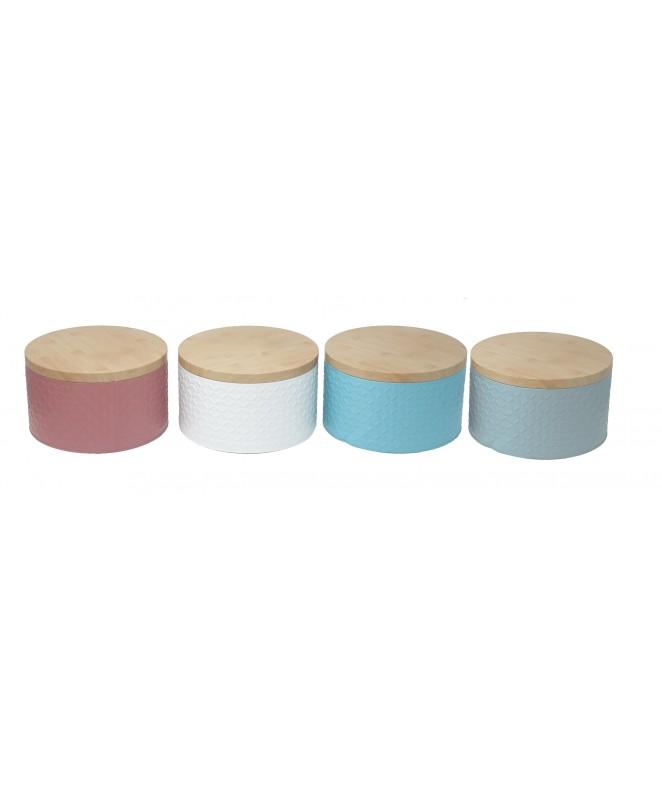 Lata redonda c/relieve y tapa de madera 20x12cm ap - UNIDAD