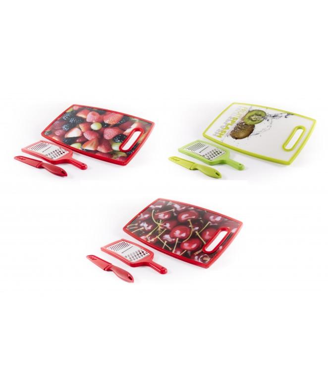 Set x3 : Tabla plastica de picar 37cm + cuchillo + - PLASTICO
