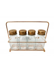Especiero c/4 frascos de vidrio c/tapa + soporte - - VIDRIO PARA SERVIR