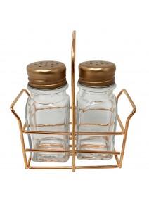 Especiero c/2 frascos de vidrio c/tapa + soporte - - ESPECIEROS