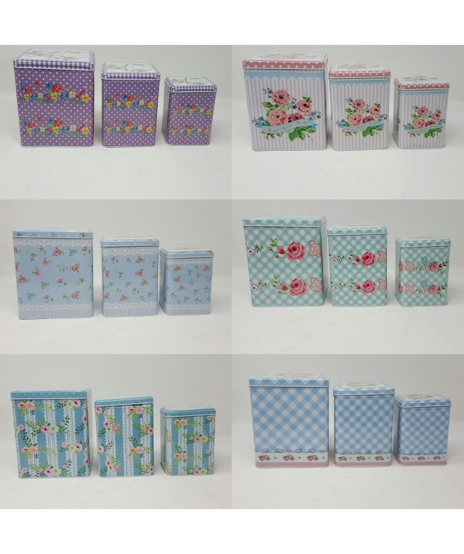 Set x3 latas decoradas- 17x14/ 14X10/ 12X8 cm apro - EN SET