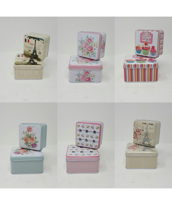 Set x2 latas decoradas cuad- 10 / 9cm aprox - EN SET