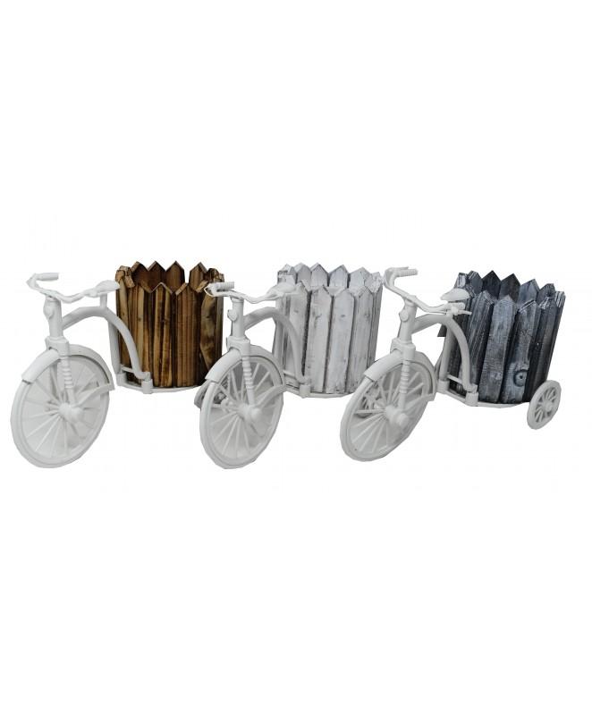 Bicicleta c/ canasto red. 25x11x13.5cm -mad +plást - ADORNOS