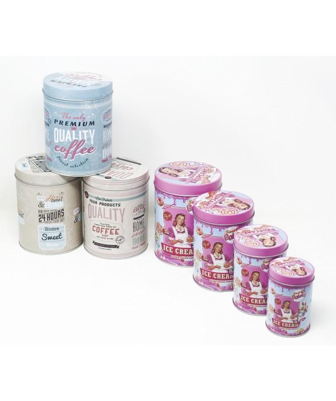 Set x4 latas cilindricas 10.5x14 cm aprox - EN SET