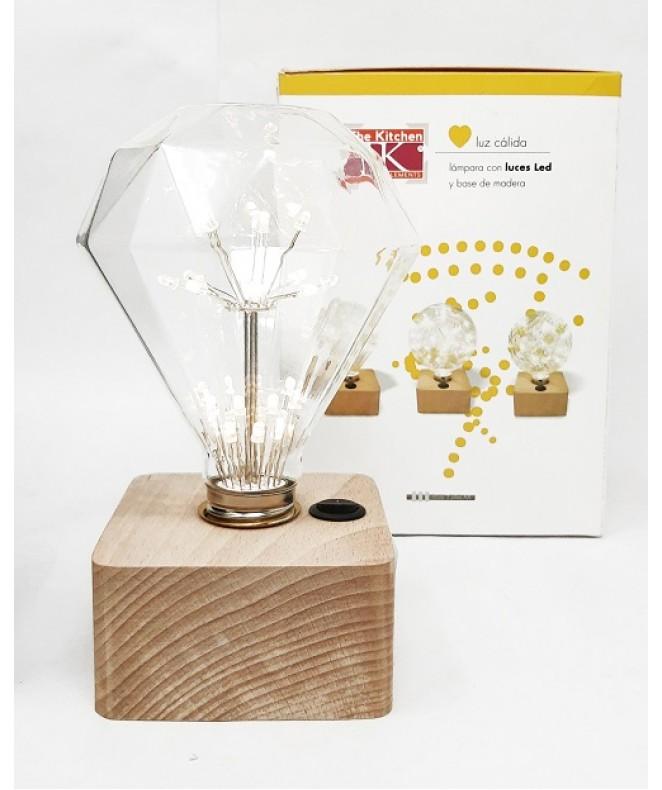 Lámpara c/luces LED y base de madera 9.5x9.5x16cm - ADORNOS
