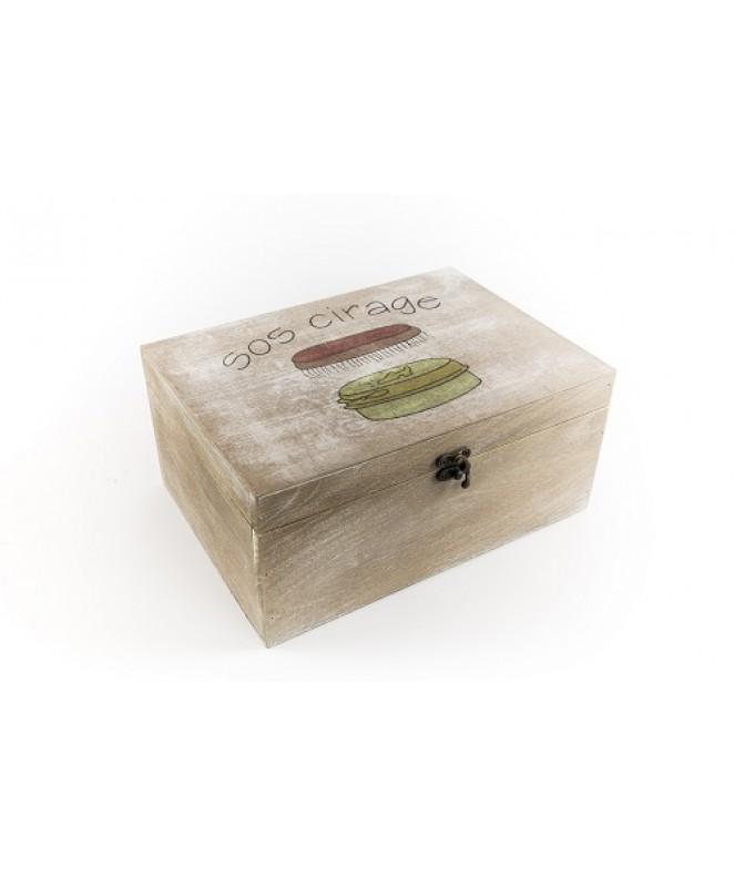 Caja organizadora decorada de madera 25*18cm aprox - ORGANIZADOR DE BA�O