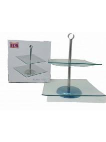 Exhibidor de 2 pisos vidrio + soporte de metal ALM - VIDRIO