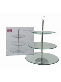 Exhibidor de 3 pisos vidrio + soporte de metal LUN - VIDRIO