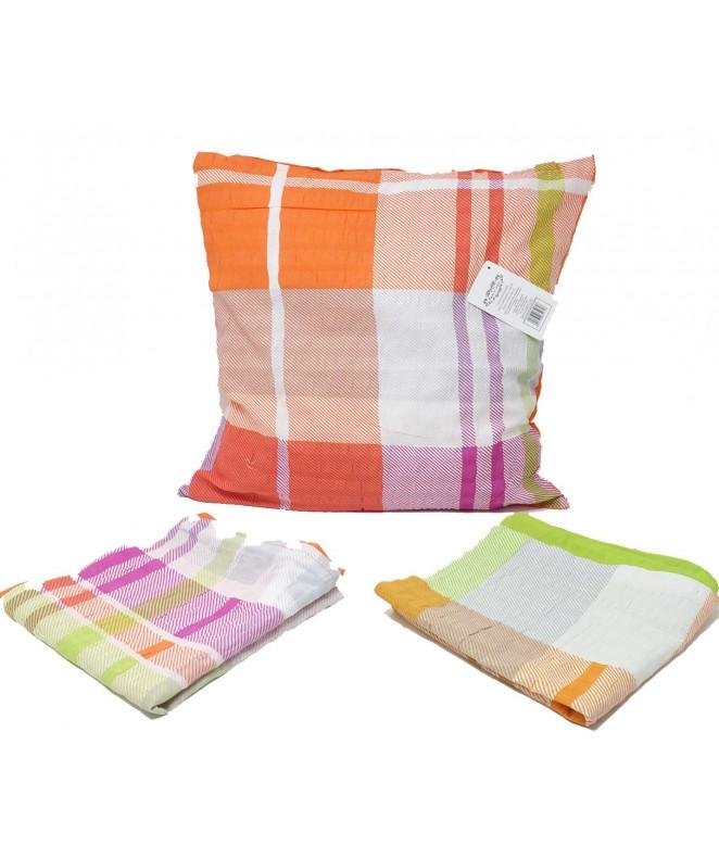 Cubre almohadon c/ cuadrados y cierre 40x40cm apro - FUNDAS DE ALMOHADONES-