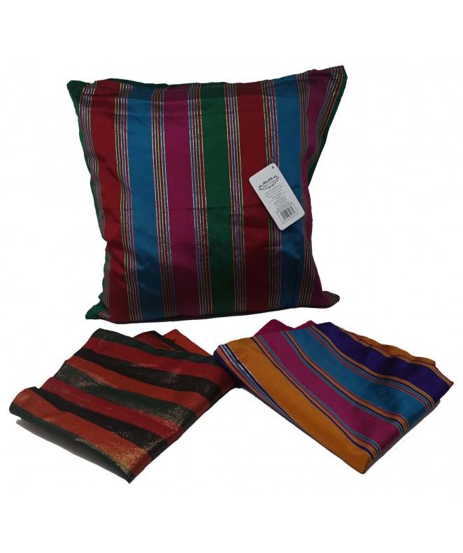 Cubre almohadon c/lineas verticales y cierre 40x40 - FUNDAS DE ALMOHADONES-