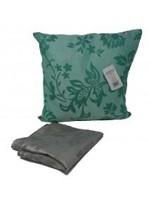 Cubre almohadon bicolor c/ flores y cierre 40x40cm - TEXTIL