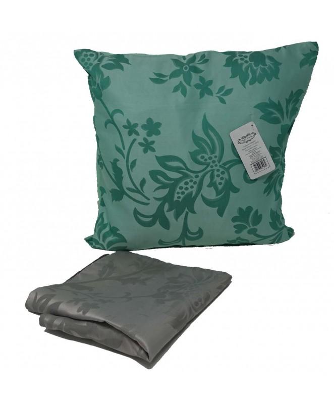 Cubre almohadon bicolor c/ flores y cierre 40x40cm - FUNDAS DE ALMOHADONES-