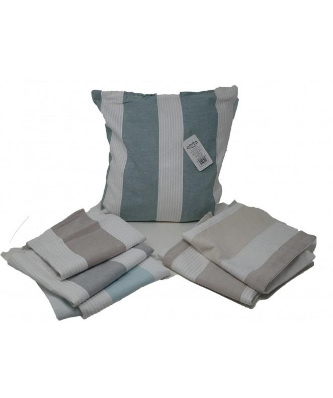 Cubre almohadon c/franjas horizont y cierre 40x40c - FUNDAS DE ALMOHADONES-