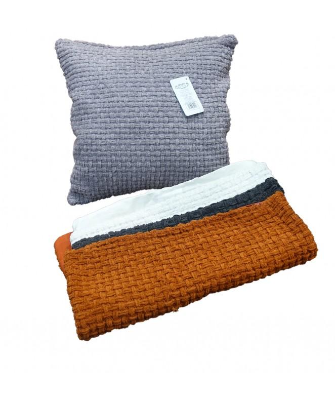Cubre almohadon entrelazado c/ cierre 40x40cm apr - FUNDAS DE ALMOHADONES-