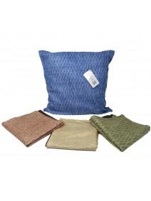 Cubre almohadon c/tiras entrelazadas y cie 40x40cm - TEXTIL
