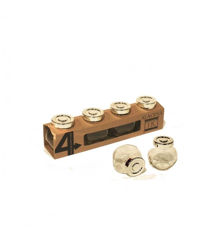 Set x 4 tarros c/tapa metalica  - 150cc c/u - FRASCOS