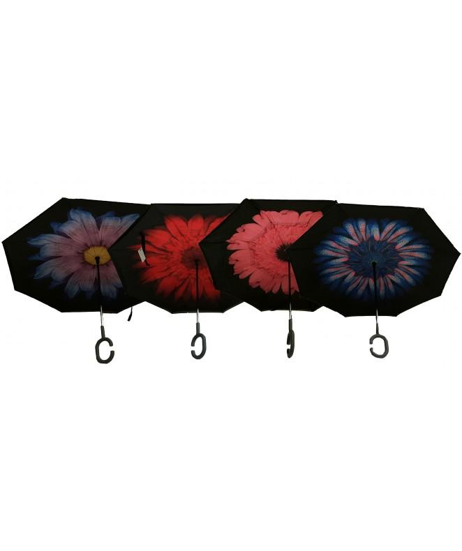 Paraguas autom. Invertido 58cm. estamp y borde neg - PARAGUAS