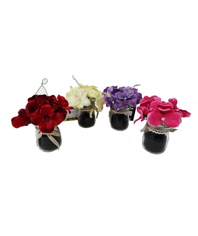 Hortensia artificial en maceta vidrio - 4 colores - ARREGLOS COLGANTES