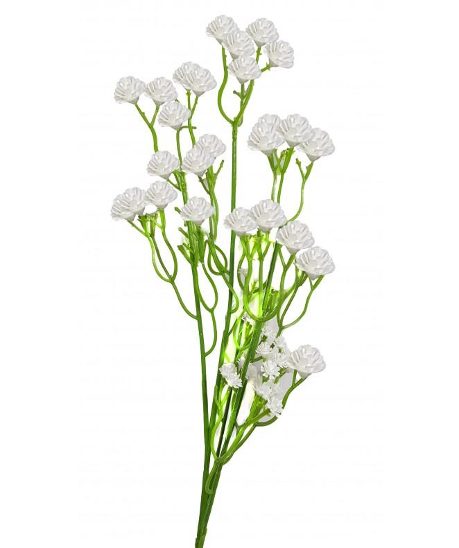 Rama con flores blancas - 46cm aprox - ROSAS