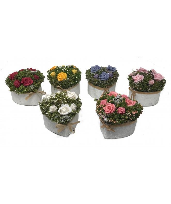Arreglo floral DEL JARDIN 10cm ap- en maceta coraz - MACETAS CON FLORES