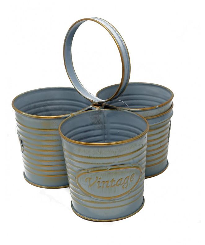 3 recipientes decorativos c/manija - Acero - LATA