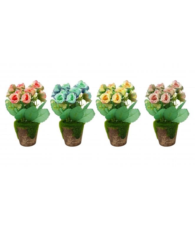 12 Rosas en maceta con cesped sintetico - 18cm apr - MACETAS CON FLORES