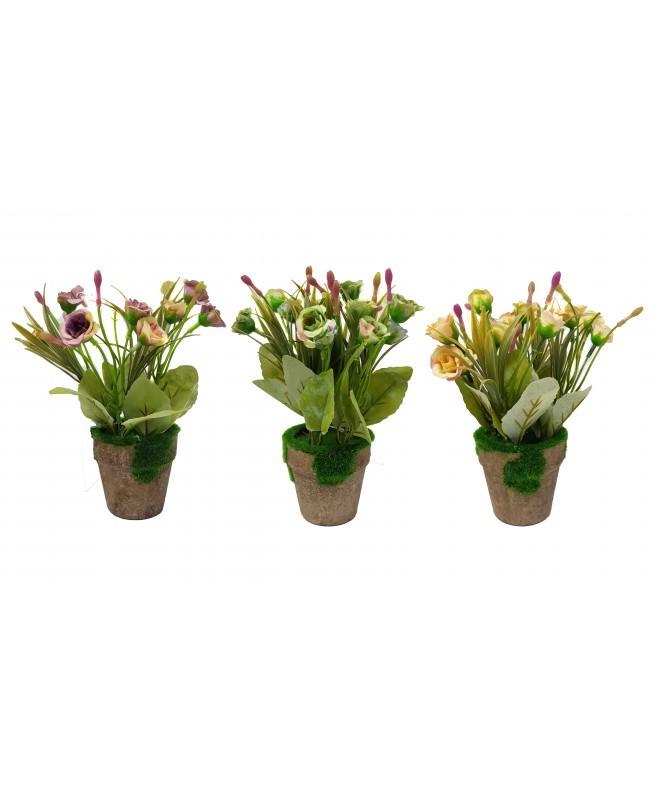 12 Rosas en maceta con cesped sintetico - 20cm apr - MACETAS CON FLORES