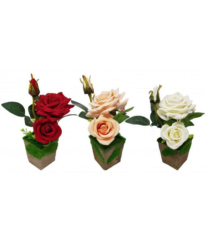 3 Rosas y 3 Margaritas maceta c/cesped sint- 25cm - MACETAS CON FLORES