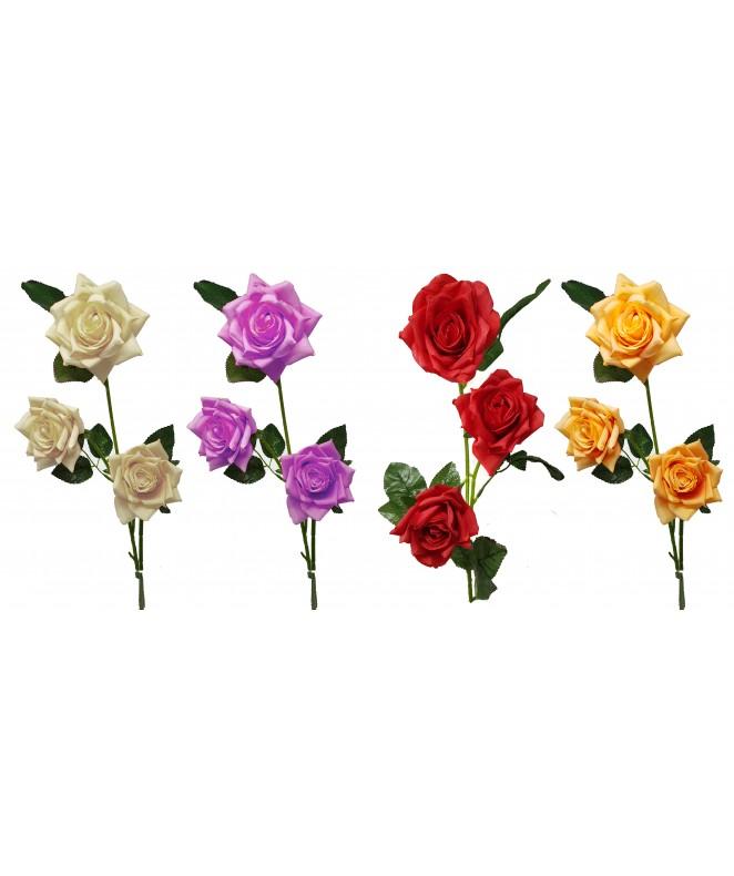 Bouquet de 3 rosas c/hojas 8.5cm  x 61cm aprox - BOUQUET