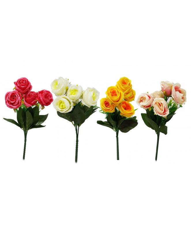 Bouquet de 5 rosas c/ hojas 3cm Ø x 28cm aprox - BOUQUET