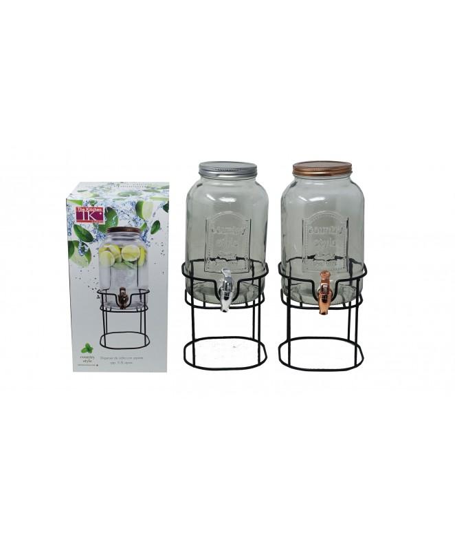 Dispenser de vidrio c/soporte COUNTRY STYLE -cap 3 - DISPENSER Y FRASQUITOS