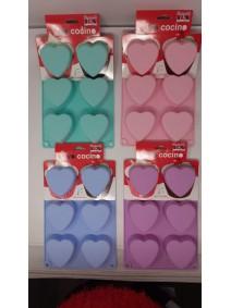 Molde de silicona corazó x6- 28x18cm- pastel - MOLDES DE SILICONA