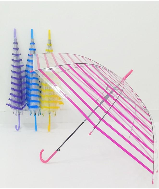 Paraguas aut. PEVA translúcido c/líneas - 55cm ap - PARAGUAS