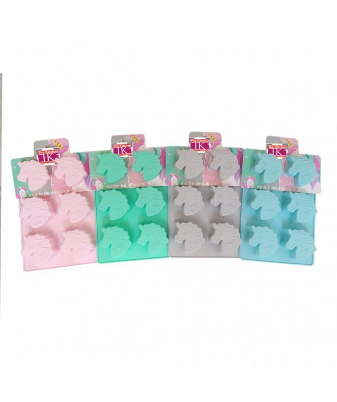 Molde de silicona unicornio x6- 27x21.6cm- pastel - MOLDES DE SILICONA