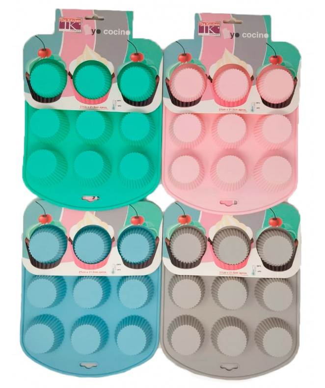 Molde de silicona p/muffins x9- 27x21.6cm- pastel - MOLDES DE SILICONA