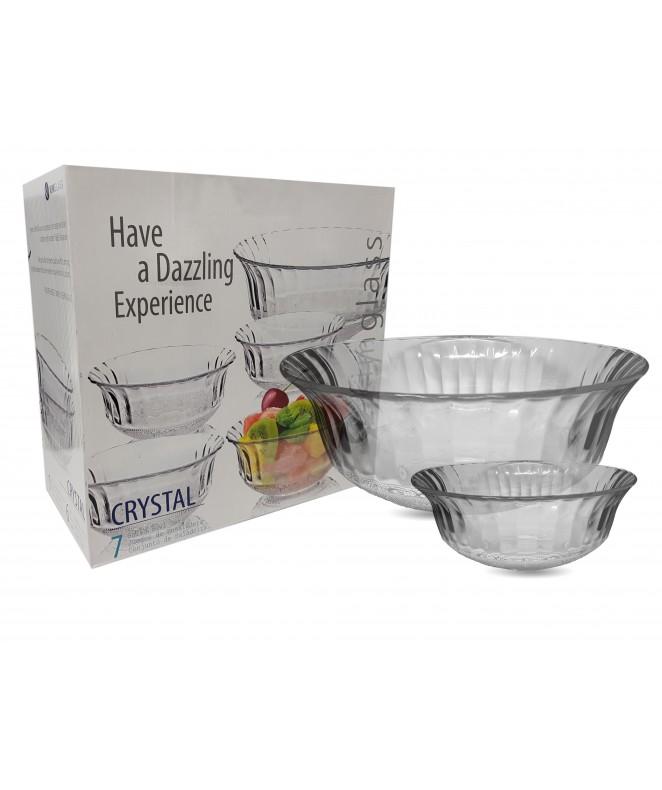 Jgo vidrio 7pzas. CRYSTAL - 6 comp. 1 bowl - ENSALADERAS COMPOTERAS Y BOWL