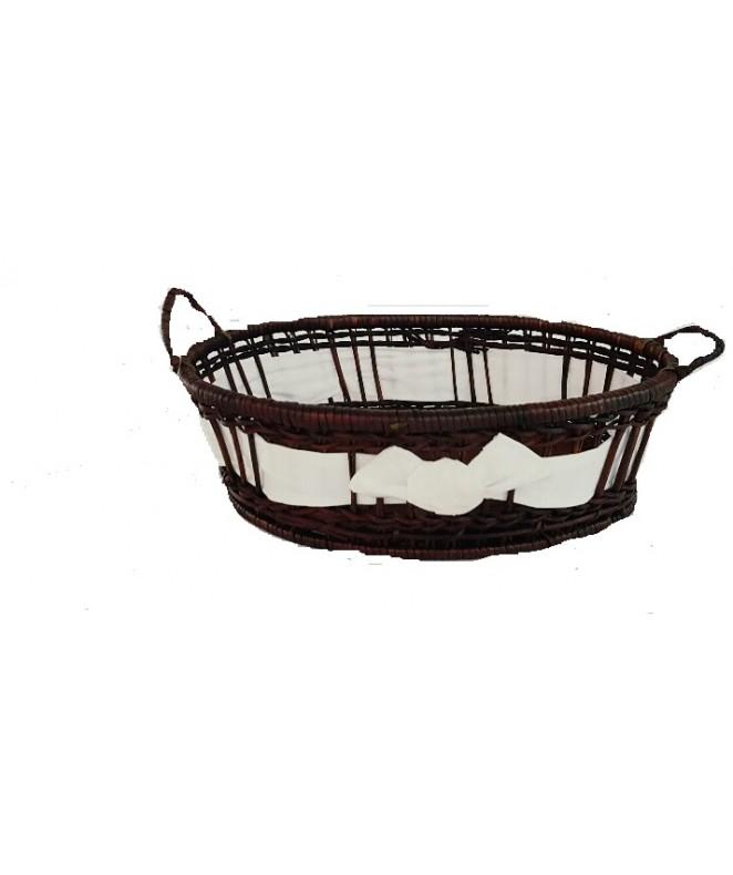 cesta bamboo osc oval manija+ tela  28*22*8 cm apx - MIMBRE