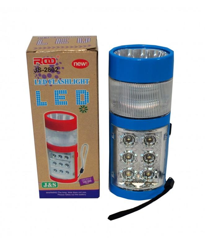 Linterna c/6+3 led y funciones 14*5cm 3 pilas AAA -