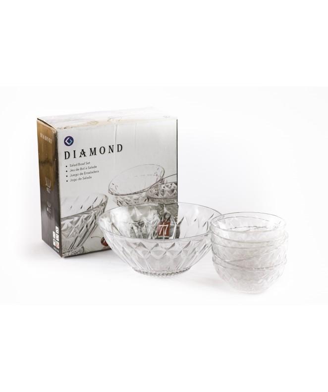 Jgo vidrio 7 pzas- 6 comp y 1 bowl .DIAMOND. - ENSALADERAS COMPOTERAS Y BOWL