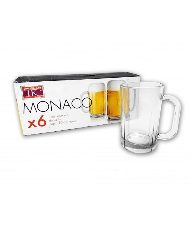 Px6 vasos cerveza c/asa MONACO 380ml aprox. - VASOS EN CAJA DE REGALO