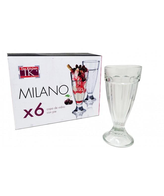 Px6 vasos milkshake c/pie MILANO 330ml aprox. - VASOS EN CAJA DE REGALO