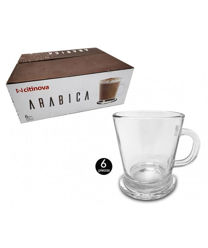 Px6 Mug vidrio ARABICA 180ml aprox. - SET DE JUEGOS DE CAFE