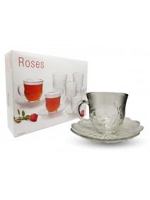 Set x6 tazas de té ROSES 210ml aprox - TAZAS Y JUEGOS DE TE